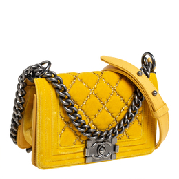 Chanel Yellow Quilted Velvet Small Boy Flap Bag 412653