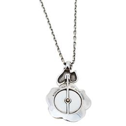 Chanel Camelia Ceramic Diamond 18k White Gold Flower Pendant Necklace 413529