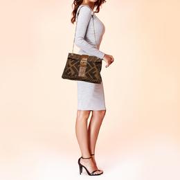 Fendi Tobacco Zucca Canvas and Leather Maxi Baguette Flap Shoulder Bag 412723