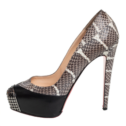 Christian Louboutin Black/Brown Python And Leather Maggie Watersnake Steel-Toe Platform Pumps Size 38.5 411909