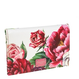 Dolce&Gabbana White Floral Print Leather Flap Card Case 413986