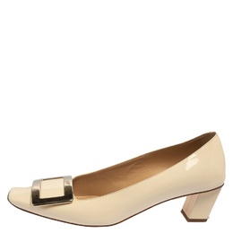 Roger Vivier Beige Patent Leather Belle Vivier Buckle Pumps Size 36.5 416206