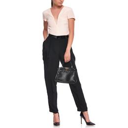 Fendi Black Leather Medium Peekaboo Top Handle Bag 412965
