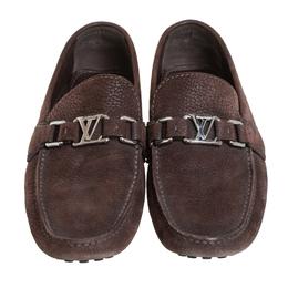 Louis Vuitton Brown Nubuck Leather Hockenheim Slip On Loafers Size 40 413519