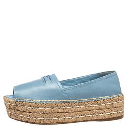 Prada Blue Leather Peep Toe Platform Espadrilles Size 36.5 413504