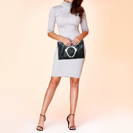 Givenchy Black Patent Leather Printed Clutch 413402