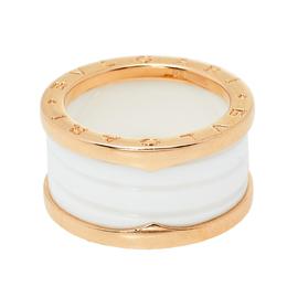 Bvlgari B.Zero1 White Ceramic 18K Rose Gold 4 Band Ring Size 55 413099