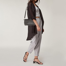 Fendi Grey/Black Leather Medium By The Way Boston Bag 412433