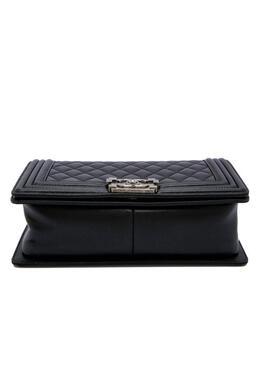 Chanel Black Calfskin Leather & Ruthenium-Finish Metal Black Boy Bag 411029