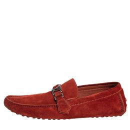 Louis Vuitton Red Suede Hockenheim Slip On Loafers Size 43 413084