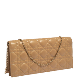 Dior Beige Cannage Leather Lady Dior Chain Clutch 414861