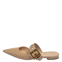 Dior Beige Fabric And Leather D Dior Flat Mules Size 40 413565