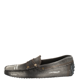 Tod's Two Tone Denim Fabric Gommino Penny Slip On Loafers Size 44.5 413145