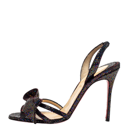 Christian Louboutin Black Glitter Bow Sling Back Sandals Size 38 413547