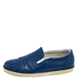 Bottega Veneta Blue Intrecciato Leather Slip On Sneakers Size 41 413449