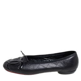 Chanel Black Leather And Patent CC Ligne Cambon Ballet Flats Size 40 410305