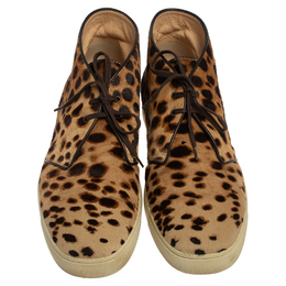 Christian Louboutin Brown Leopard Print Calf Hair Lace Up Sneaker Size 43 413792