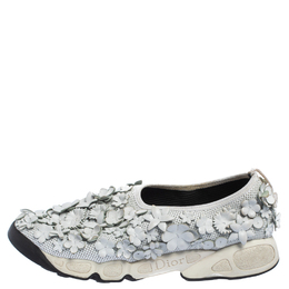 Dior White Mesh And Leather Fusion Floral Applique Sneakers Size 39 415316