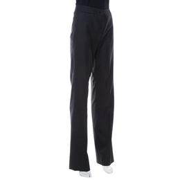 Oscar De La Renta Charcoal Grey Wool Straight Leg Trousers M 413157