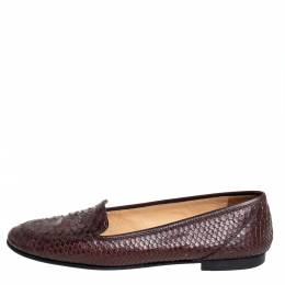 Chanel Brown Python CC Slip on Loafers Size 41 412619