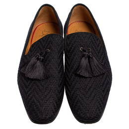 Christian Louboutin Blue Woven Fabric Officialito Tassel Loafers Size 43 416350