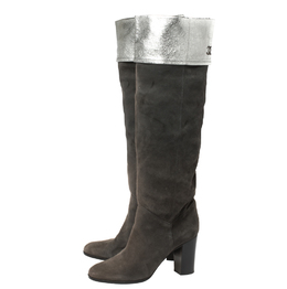 Chanel Dark Grey Suede And Leather Knee Length Boots Size 41 413110