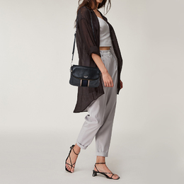 Kate Spade Black/Grey Leather and Wool Jackson Street Harly Shoulder Bag 416151