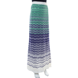 M Missoni Green And Blue Wave Knit Maxi Skirt S 416299