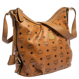 MCM Cognac Visetos Coated Canvas and Leather Shoulder Bag 416208