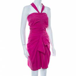 Christian Dior Pink Cotton Halter Neck Bow Detail Ruched Mini Dress S 416279