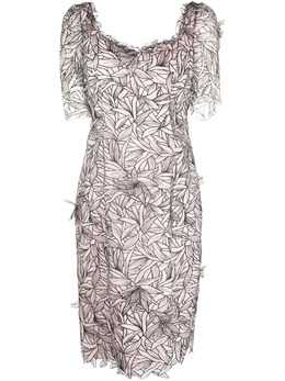 Marchesa Notte платье с короткими рукавами и аппликацией NA45C2388