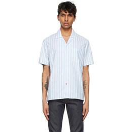 Isaia Blue and White Camp Collar Short Sleeve Shirt C6737 CAMP COLLAR