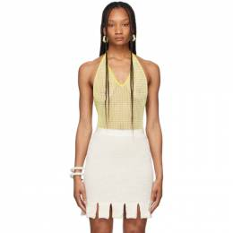 Bottega Veneta Yellow and White Chevron Fishnet Bodysuit 657729 V0R60