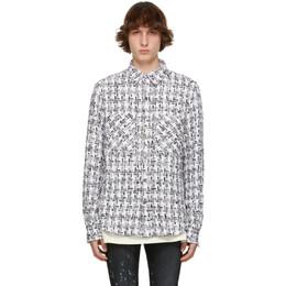 Faith Connexion SSENSE Exclusive White and Black Tweed Oversized Shirt X1820T00553