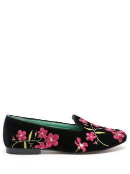 Blue Bird Shoes бархатные лоферы с цветочной вышивкой W21011702
