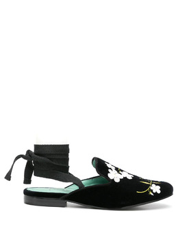 Blue Bird Shoes бархатные мюли с цветочной вышивкой W21165602