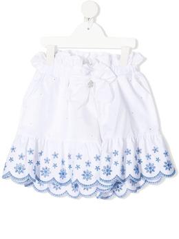 Miss Blumarine шорты с цветочной вышивкой и фестонами MBL3772