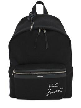 Рюкзак Из Хлопкового Канвас С Вышивкой Логотипа Saint Laurent 73IYBZ041-MTA3MA2