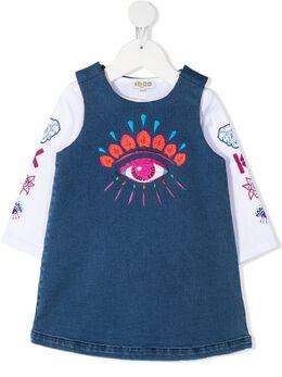 Kenzo Kids платье с графичным принтом и вышивкой KR30087