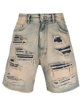 Represent джинсовые шорты с эффектом потертости M07062