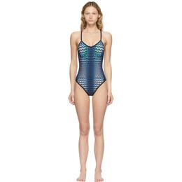 Marine Serre Blue Moonfish Skin Cross Over Back One-Piece Swimsuit T118SS21W