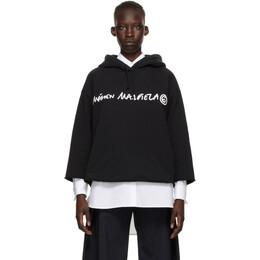 Mm6 Maison Margiela Black Logo Cropped Hoodie S62GU0046 S25337