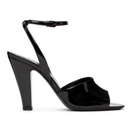 Saint Laurent Black Patent Scandale Heeled Sandals 662269 1TV00