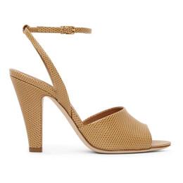 Saint Laurent Tan Lizard Scandale Heeled Sandals 662269 2Y900