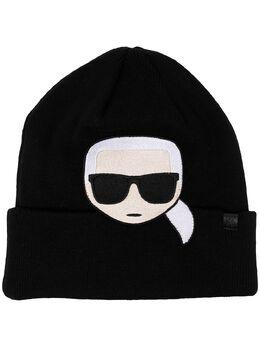Karl Lagerfeld шапка бини K/Ikonik с вышивкой 206W341921