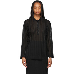 Toteme Black Knit Long Sleeve Polo 212-570-760