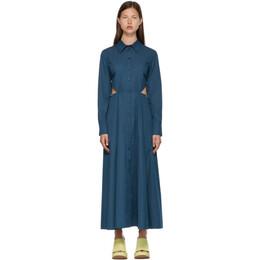 Nina Ricci Blue Button-Down Cut-Out Dress 21ECRO015CO0968