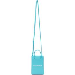 Balenciaga Blue Shopping Phone Holder Bag 593826 0AI2N
