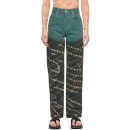 Eckhaus Latta Blue Crosshatch Wide Leg Jeans 334-EL-SS21-C
