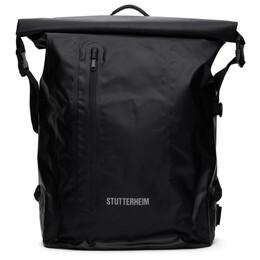 Stutterheim Black Rolltop Rain Backpack 2422